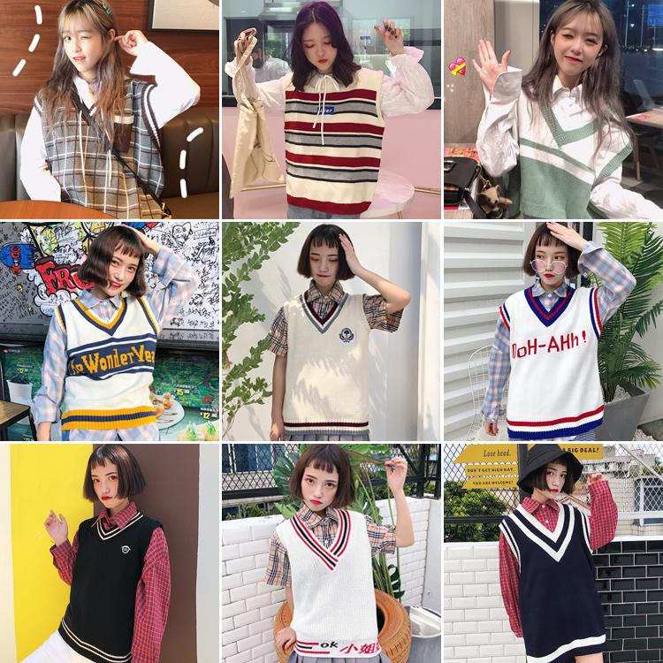 学院风针织马甲女背心2018新款原宿复古撞色V领毛线无袖学生上衣