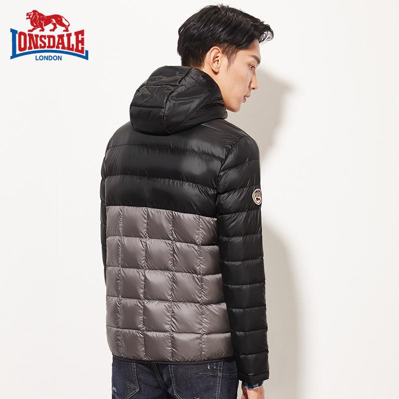 龙狮戴尔秋冬新款户外羽绒服男连帽撞色短款韩版简约修身冬装外套