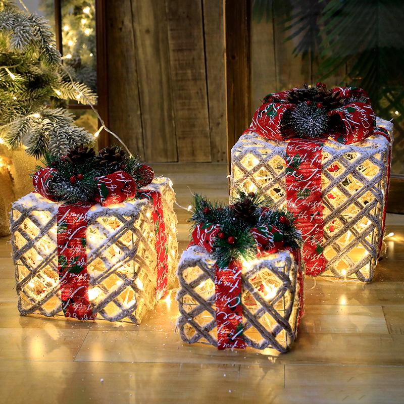 Yeezy iron gift box three-piece set scene set tree shelf gift box hotel window decoration glowing small ornaments