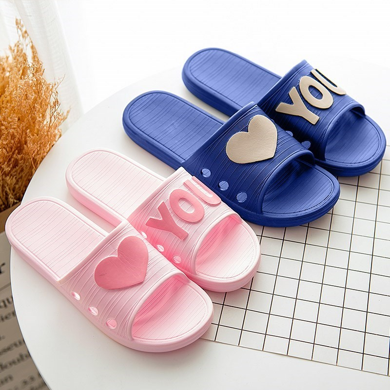 Bedroom blue kitchen non-slip Female Girl Home soft bottom slippers female summer male adult couple indoor word drag