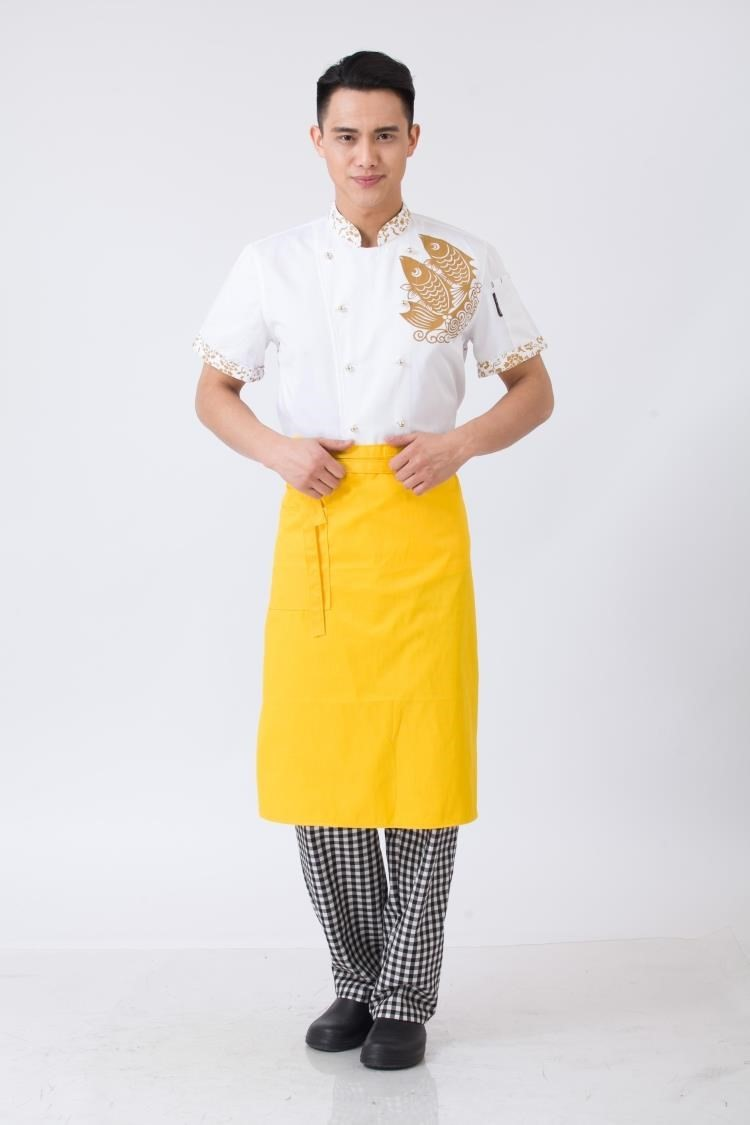 Skirt sleek yellow short apron chef's special restaurant cake room stylish half-cut apron new
