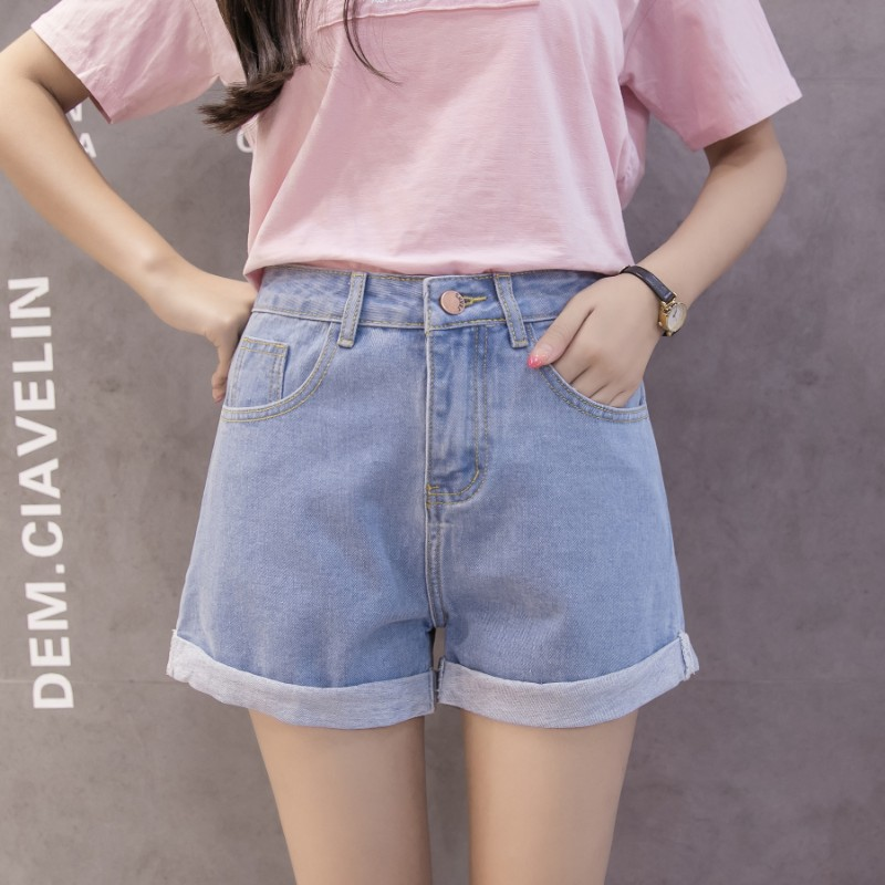 Denim Shorts Female Summer 2019 New Style High Waist Korean-Style Chic Students Wide-Leg Hot Pants BF Wild Loose Short Shorts