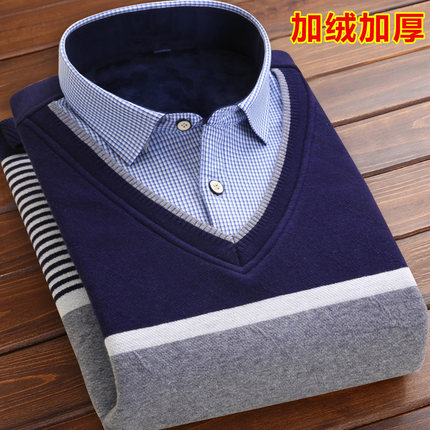 丹唛果 韩版加绒加厚假两件毛衣针织衫