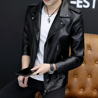 2020 spring and autumn new casual plus velvet leather pu jacket male Korean style slim trend handsome youth leather jacket