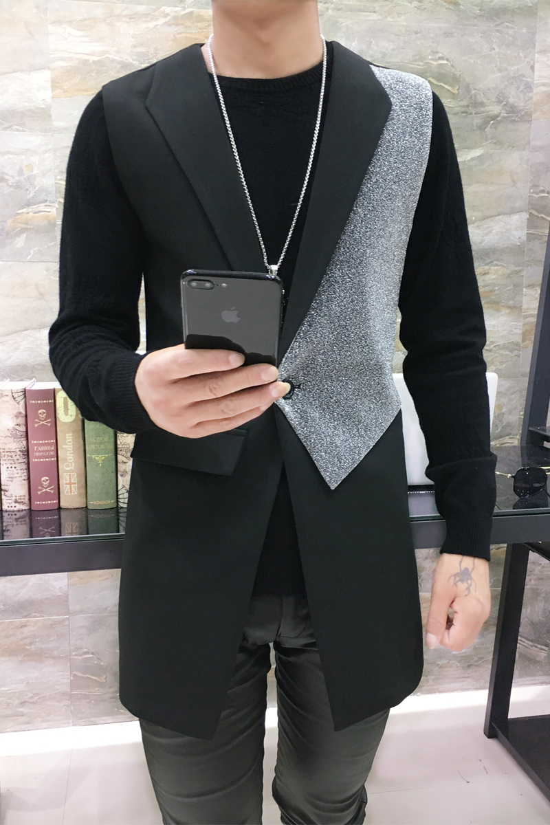 Autumn New Male Fashion Splicing Vest In Long A Suit Collar Single Row Of Buckle Golden Silver