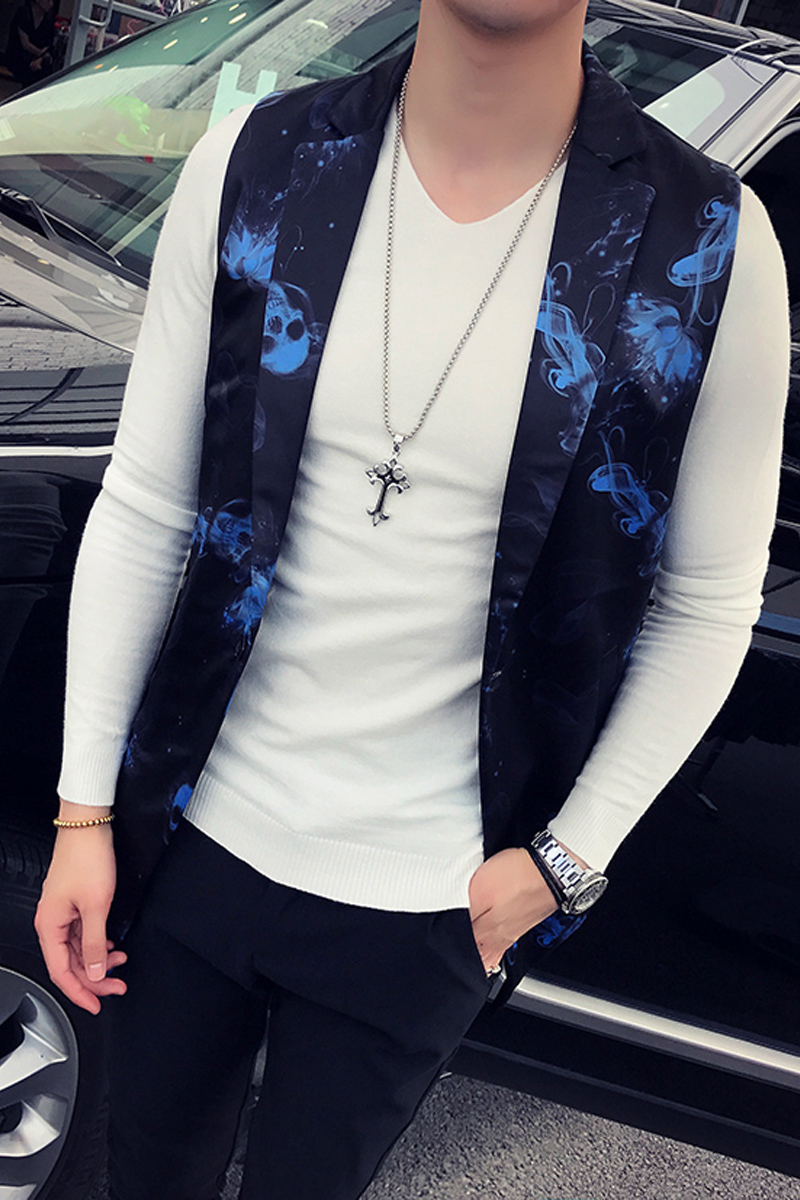 Autumn New Men's Trend Printing, Long Vest, Personality, Ghost, Coat Personality A Suit Collar Single Row Of Buckle White Blue