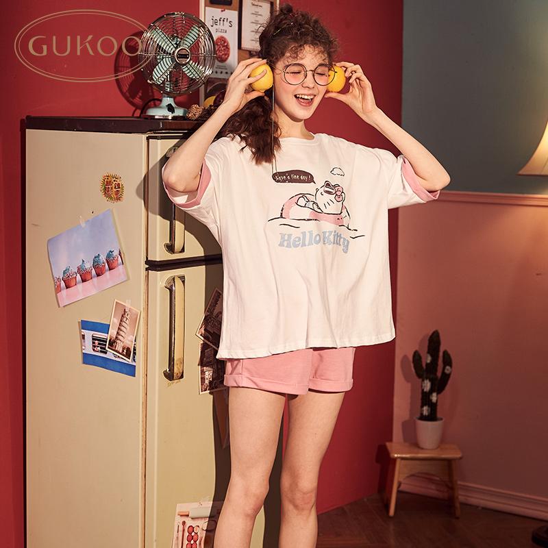 [Giới hạn 89] Chính hãng Hello Kitty Pyjamas nữ bông mùa hè Cartoon Trang chủ Dịch vụ Ladies Pyjamas