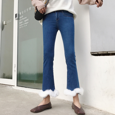 Autumn and winter new women's pants trousers stretch elastic temperament Micro-La high waist slim students nine points jeans female