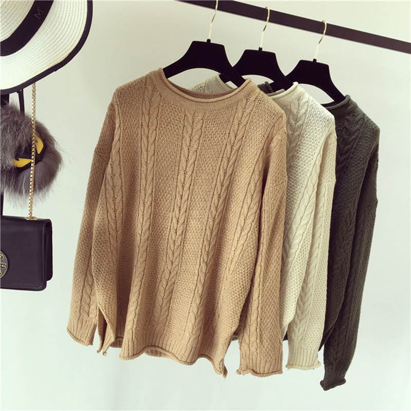 Autumn new women loose was thin hemp hedging students straight-colored long-sleeved thick sweater coat