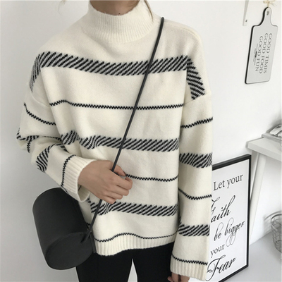 Autumn and winter new women high collar fight color stripes warm loose was thin students long-sleeved sweaters sweaters blouses