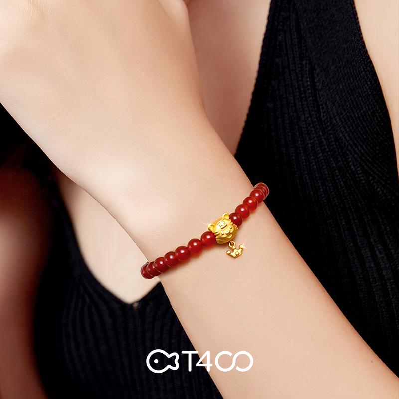 T400玛瑙生肖虎手链女2021年新款红色ins小众设计高级感手饰礼物
