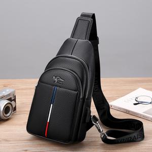 袋鼠胸包男真皮USB多功能单肩斜挎包背包
