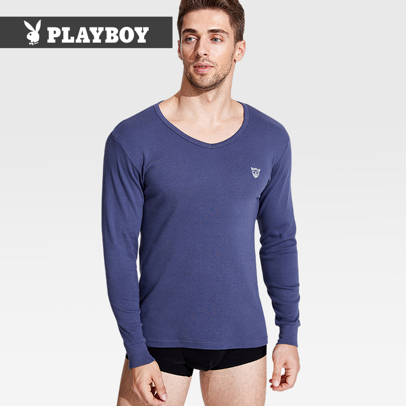 Playboy thermal underwear men's V-neck cotton autumn coat single-piece top thin autumn and winter cotton bottom cotton sweater