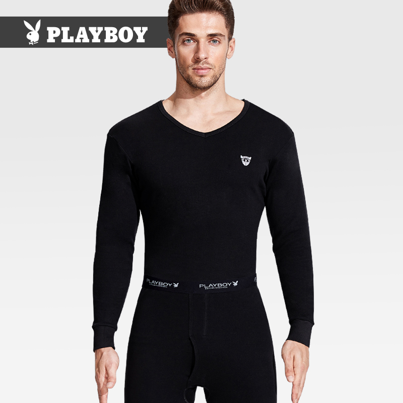 Playboy men's basic underwear warm set cotton V-neck autumn pants cotton autumn winter cotton sweater