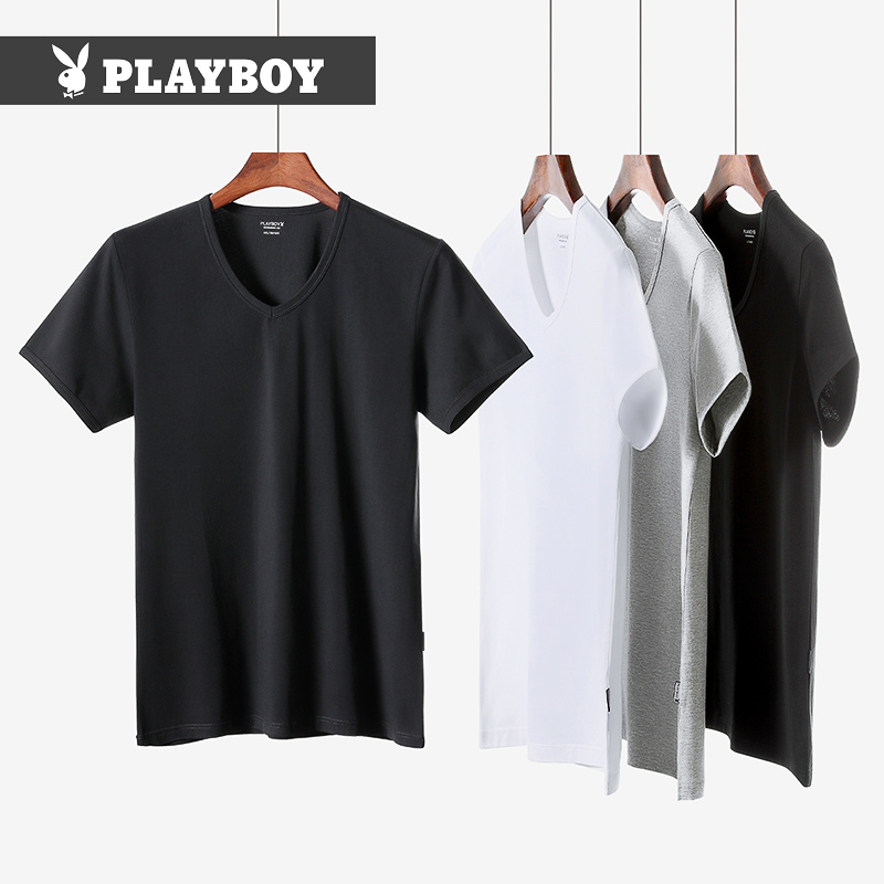 Playboy T-shirt men's short-sleeved summer youth cotton T-shirt V-neck vest men hit the bottom sweatshirt old man shirt