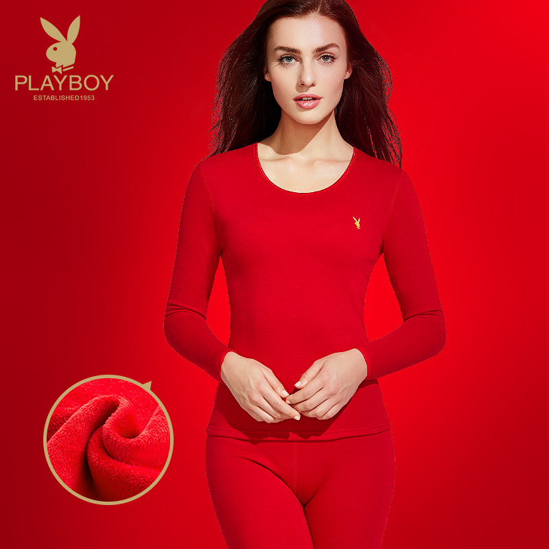 Playboy ladies thermal underwear suit plus velvet thick red life this year round collar qiuyi Qiuqiu female Winter