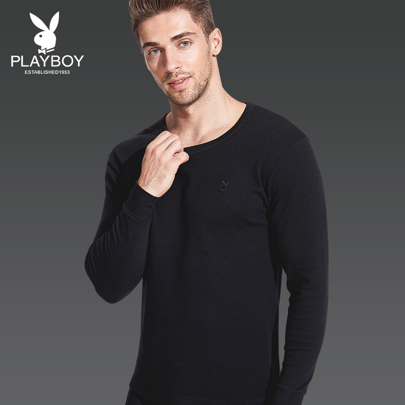Playboy thermal underwear men's autumn clothing cotton thin section youth cotton sweater round neck base cotton autumn and winter