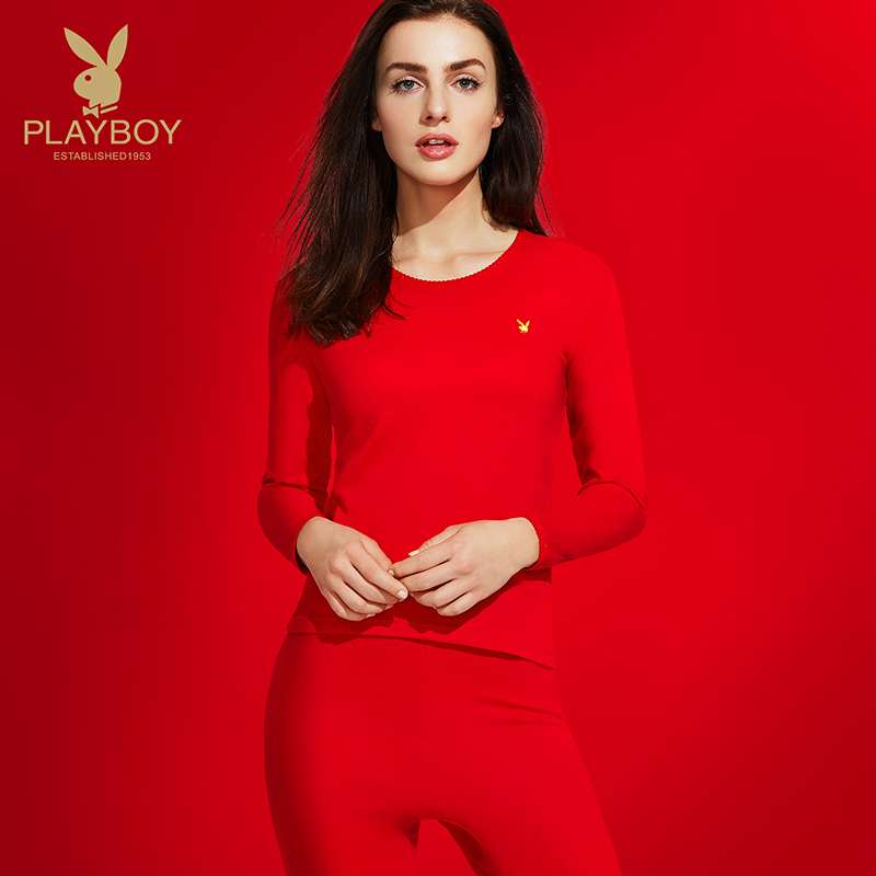 Playboy natal female thermal underwear set cotton Red Wedding female thin section qiuyi qiuku autumn and winter