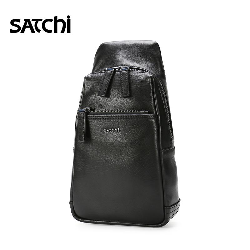Satchi-沙馳經典百搭時尚頭層牛皮多功能時尚胸包單肩包