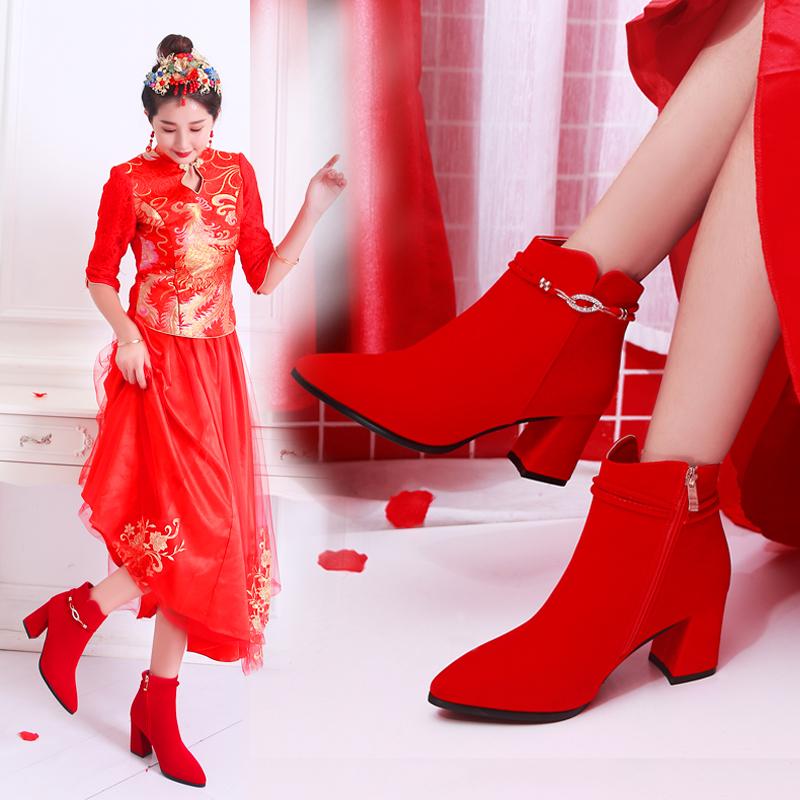 结婚鞋女冬季2018新款红色新娘鞋高跟粗跟尖头中跟敬酒短靴婚靴