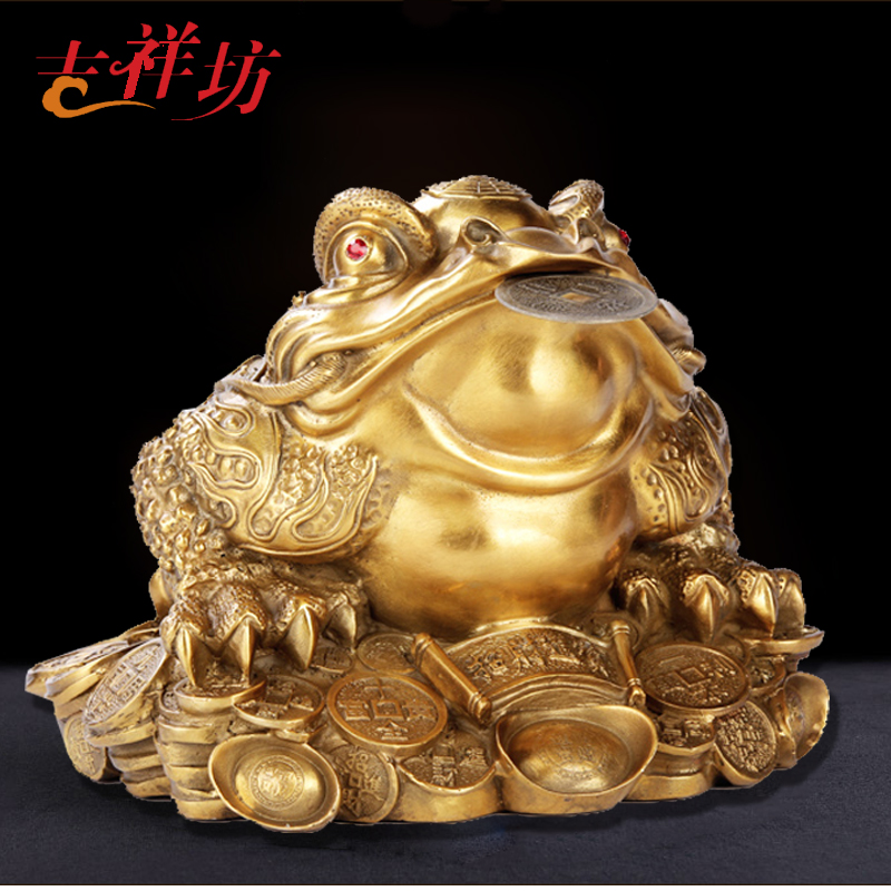 Open Lucky Copper Ornaments Large Feng Shui Gold Toad Shop Office Home  Furnishings Opening Gifts