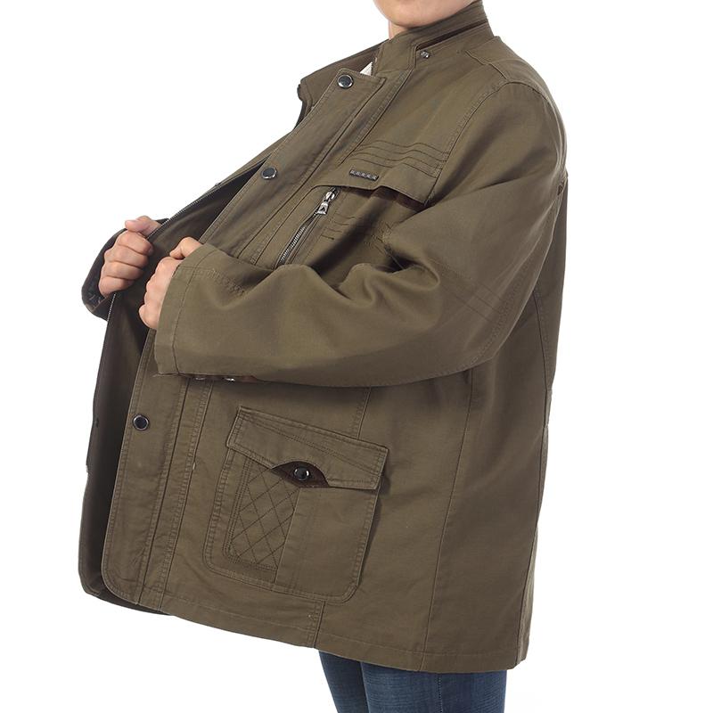 中老年男装超大码外套春秋季加肥加大号夹克休闲茄克胖爸爸装全棉