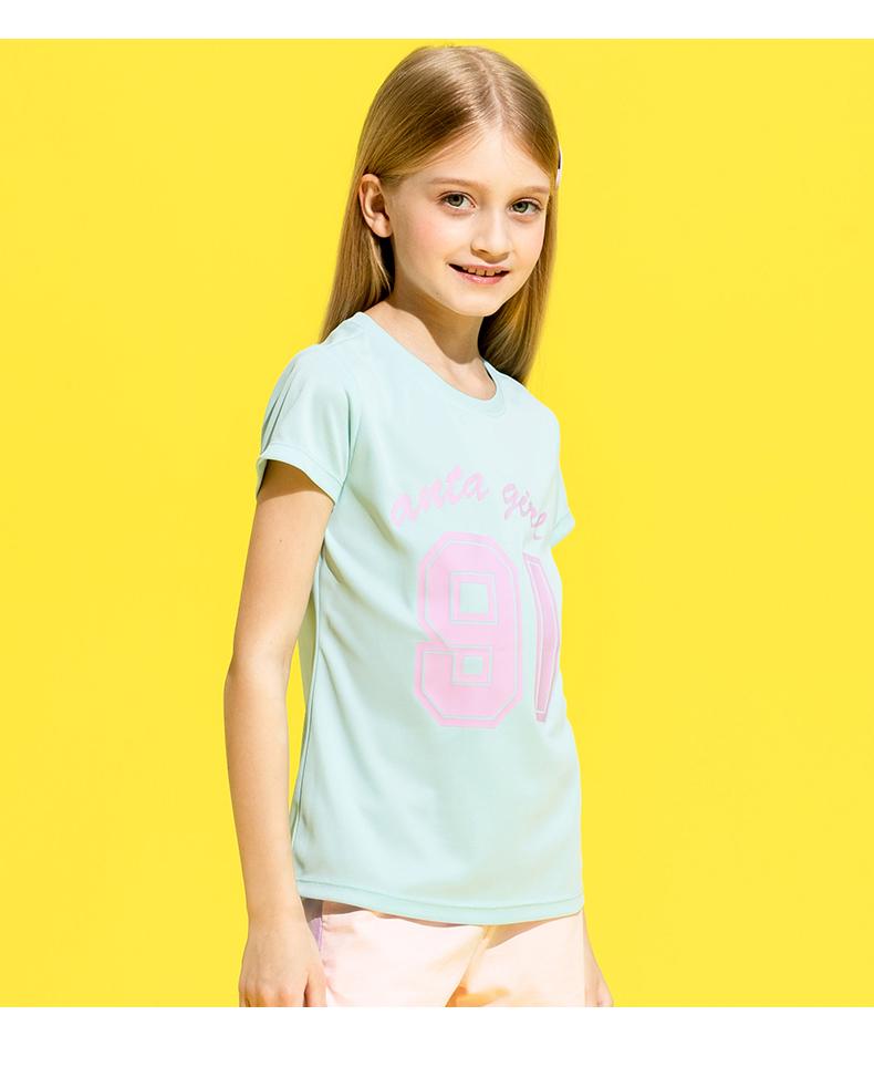 安踏儿童套装恤女童夏装春夏新款中大童短袖透气打底运动上衣详细照片