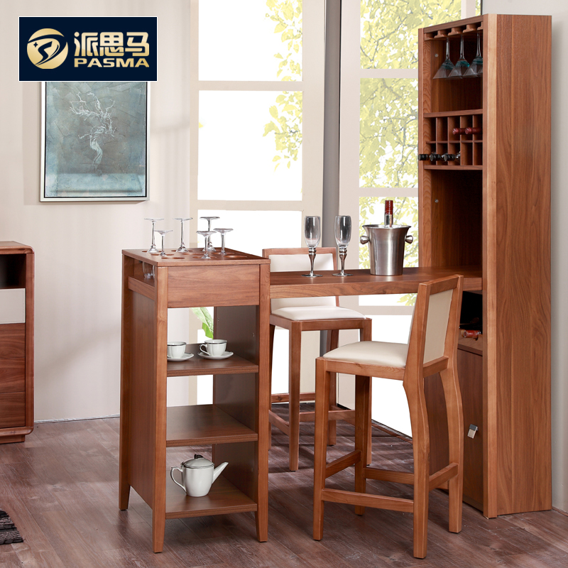 Pai Si simple modern solid wood bar table and chairs living room bar ...