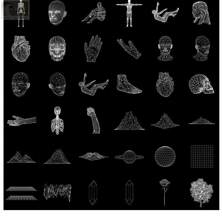 """D人工智能立体线描人体头像手脚210925【AI/PNG/SVG】"""""""