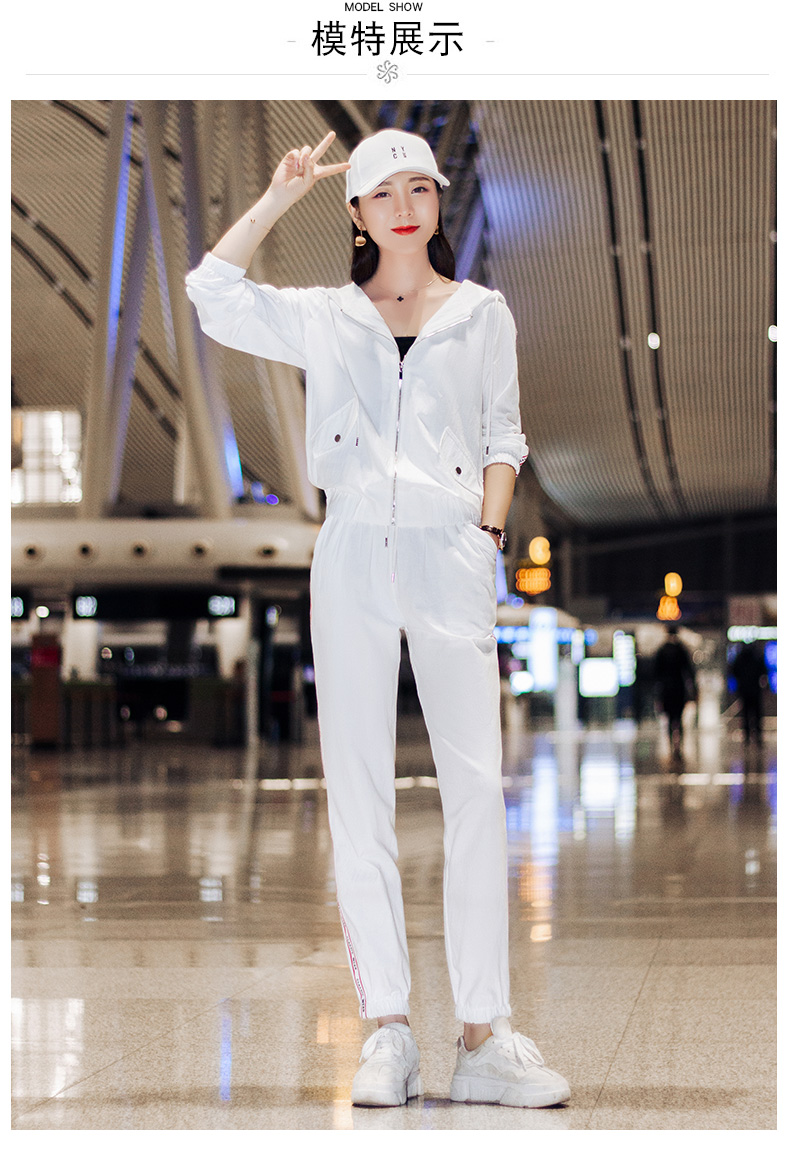 Sportswear set autumn new 2020 Korean version of loose-fitting large-size fashion casual wear two-piece set thin 51