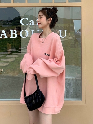 taobao agent Pink sweater women 2021 new loose Korean version of early spring and autumn plus velvet thickening lazy long-sleeved jacket ins tide