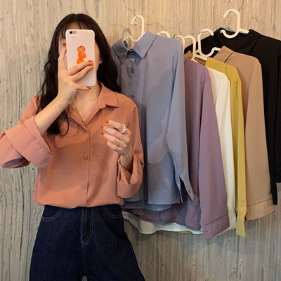 taobao agent Chiffon shirt women's spring and autumn 2021 new long-sleeved blouses wear pure colors and wild Korean loose v-neck tide