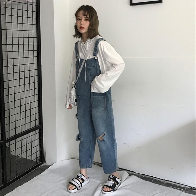 Джинсы женские Одежда осень наряд женская Хан издание Джокер BF ветер свободные джинсы нагрудник личности рваные широкие брюки девять очков брюки значительно тонкие