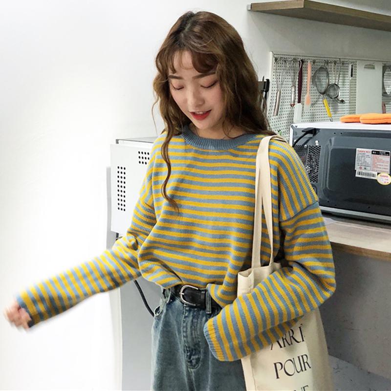 秋冬韩版复古菱形格子宽松套头毛衣外套女百搭长袖针织衫学生上衣