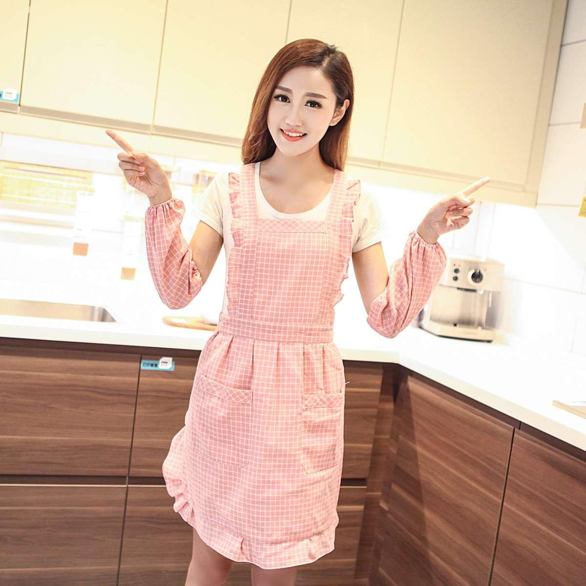 袖套围裙成人厨房工作服爱工作时尚房防韩版时尚罩衣纯棉围裙