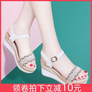 Лето мелочь толстая корка клинья сандалии женщина 2021 новый лето дикий на высоких кабгалстук-бабочкаах словосочетание юбка носить обувь, цена 2253 руб