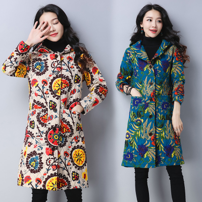 Autumn and winter new national wind women's printed cotton jacket padded Slim was thin cotton coat in the long coat