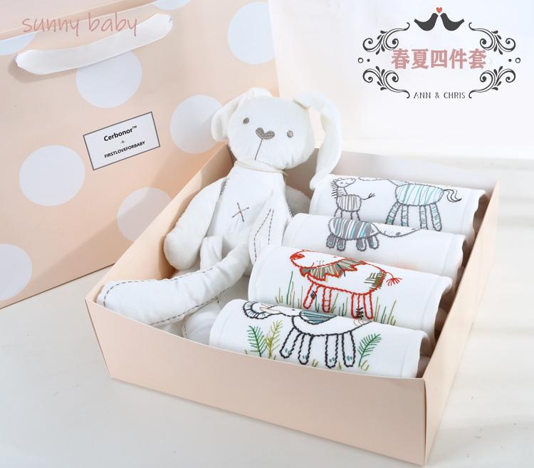 Hộp quà cho bé sơ sinh Hộp quà tặng cho bé sơ sinh Bộ quần áo cotton mùa xuân và mùa hè - Bộ quà tặng em bé