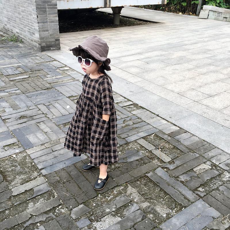 长裙复古褶皱长袖公主格子儿童女童连衣裙2017春秋新款文艺棉麻裙