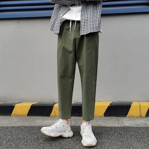 夏季裤子男韩版潮流宽松百搭工装裤直筒潮牌九分薄款运动休闲长裤