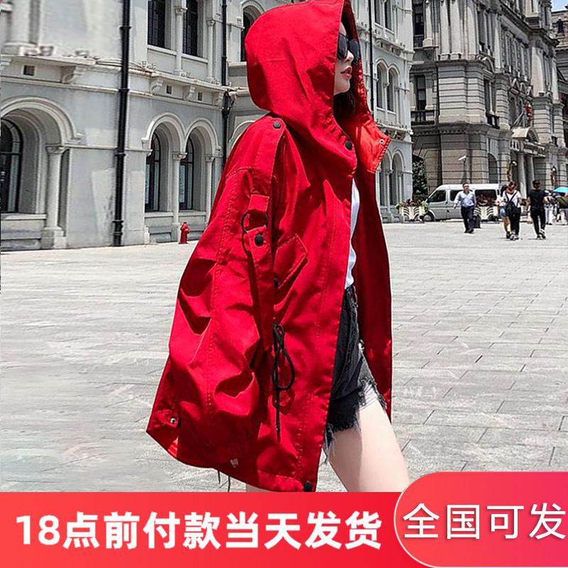红色风衣女中长款春秋韩版宽松bf2020新款休闲港味学生工装短外套