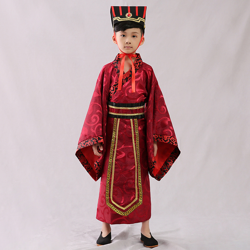 Children's ancient costume, Han costume, ancient Chinese student, Chinese wind, national costume, Confucius, the minister's primary school, performing the costume.