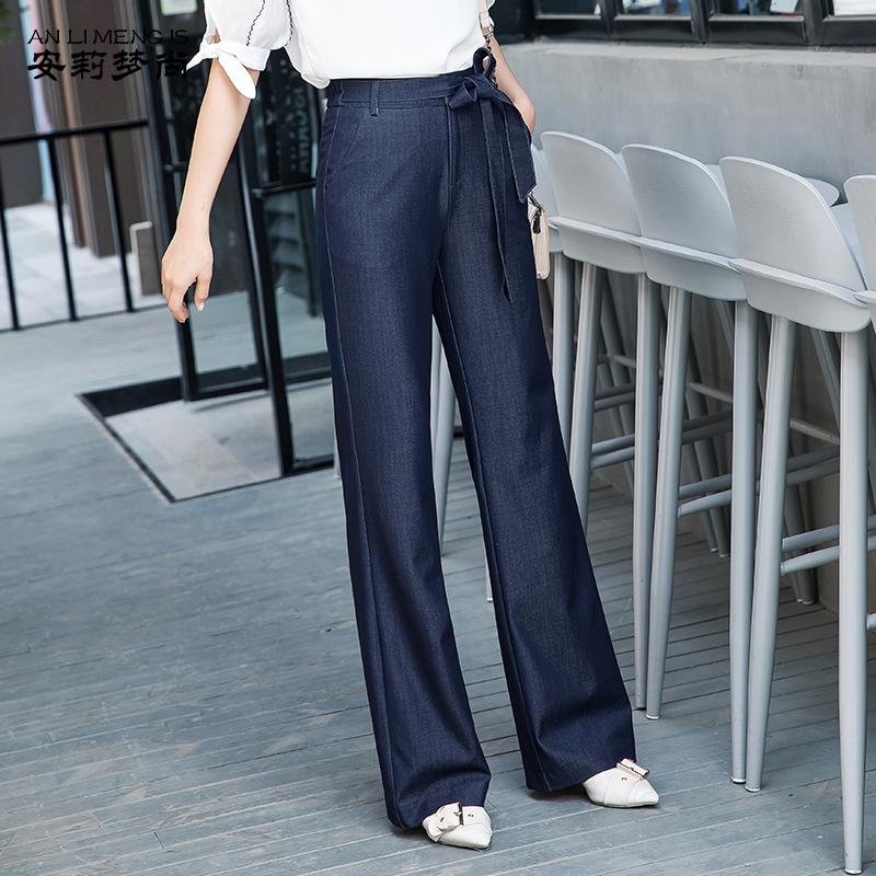 夏季天丝牛仔裤2019新款高腰宽松显瘦休闲裤直筒长裤女坠感阔腿裤