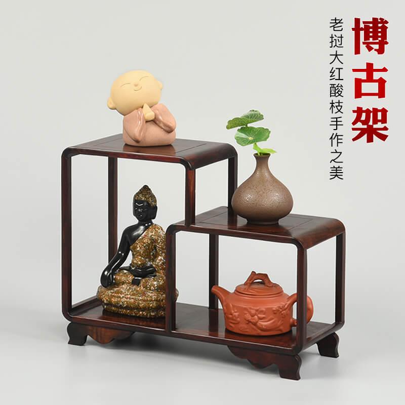 东阳大红酸枝老挝底座工艺品架子实木小博古桌面紫砂茶壶摆件木雕