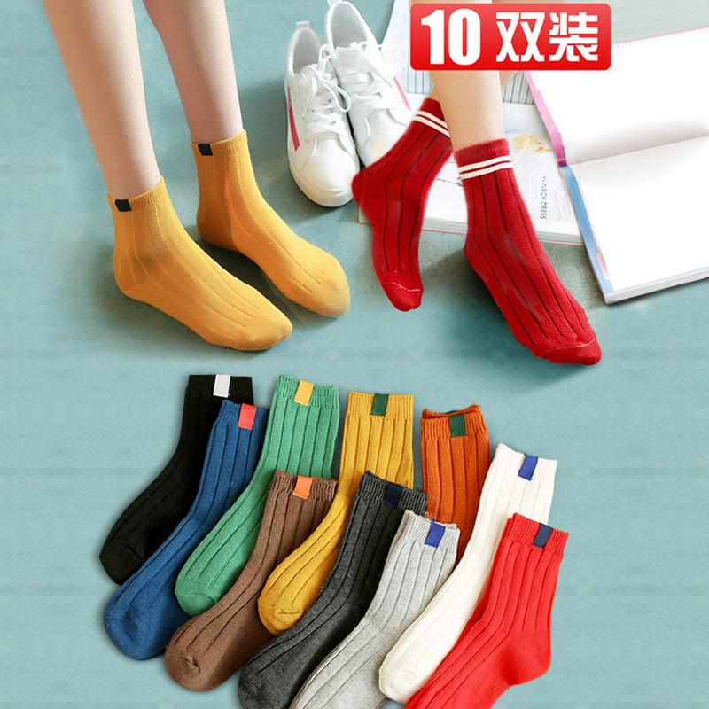长袜子女秋冬中筒袜春秋款ins纯棉堆堆袜日系秋天女士加厚长筒