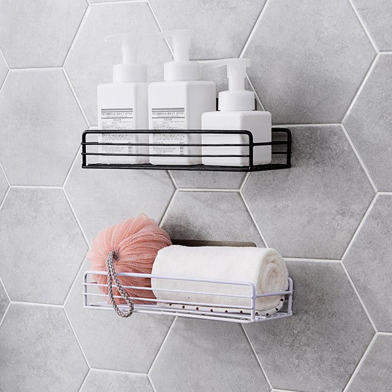 铁艺浴室置物架沐浴露架子 卫生间厕所免打孔洗漱挂篮壁挂收纳架
