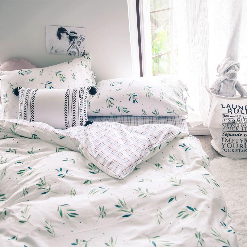 Lá ô liu hoa Pháp bông bốn mảnh chăn bông trải giường gối giường màu xanh lá cây 1.8m2D03 - Khăn trải giường