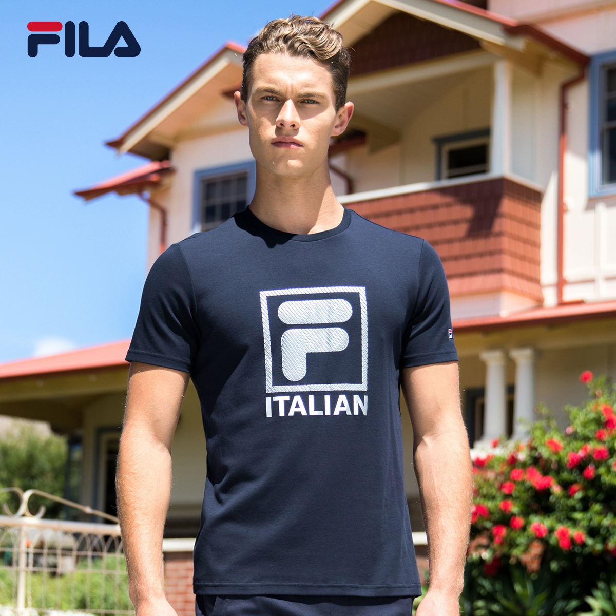 b4f824f03e FILA Fei Le men's T-shirt 2019 summer new F LOGO printing T-shirt  short-sleeved shirt sports T-shirt men