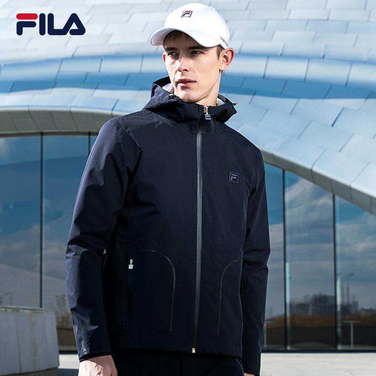 FILA斐樂男外套2018秋季新品梭織上衣挺括有型連帽運動外套男