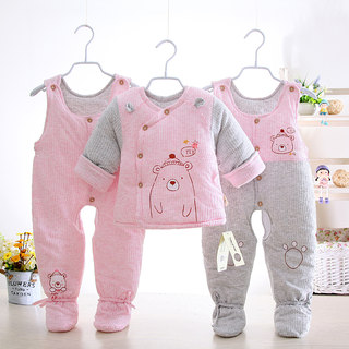 Anti-season special offer newborn baby cotton thickened cotton clothes three-piece set with foot strap cotton pants boys and girls feet winter